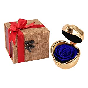 Never Withered Eternal Rose Women Girls Propose Ring Box, Eernal Life Flowers Proposal Wedding Birthday, Thanksgiving Day Gift 95