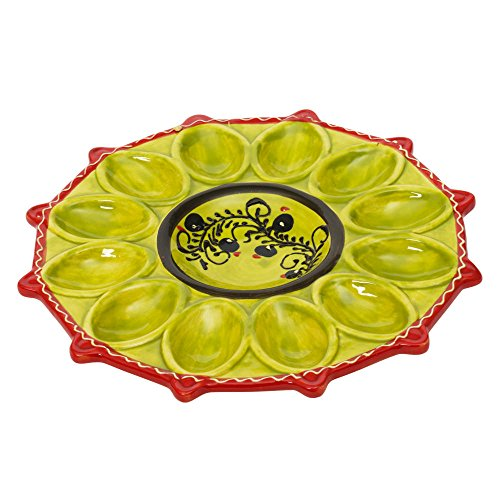 Colorful Ceramic 12 Section Deviled Egg Plate by Trend Up