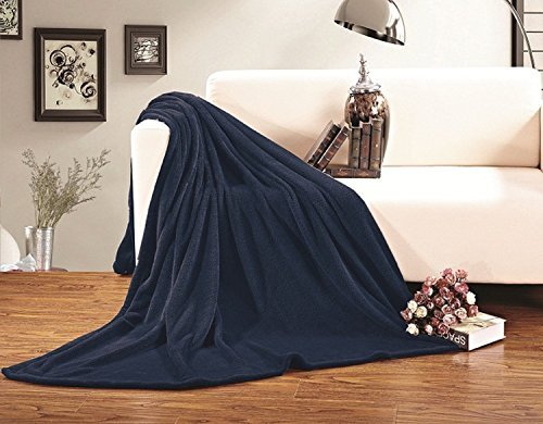 Elegant Comfort Micro-Fleece Ultra Plush LUXURY Solid Blanket , Full/Queen, Navy
