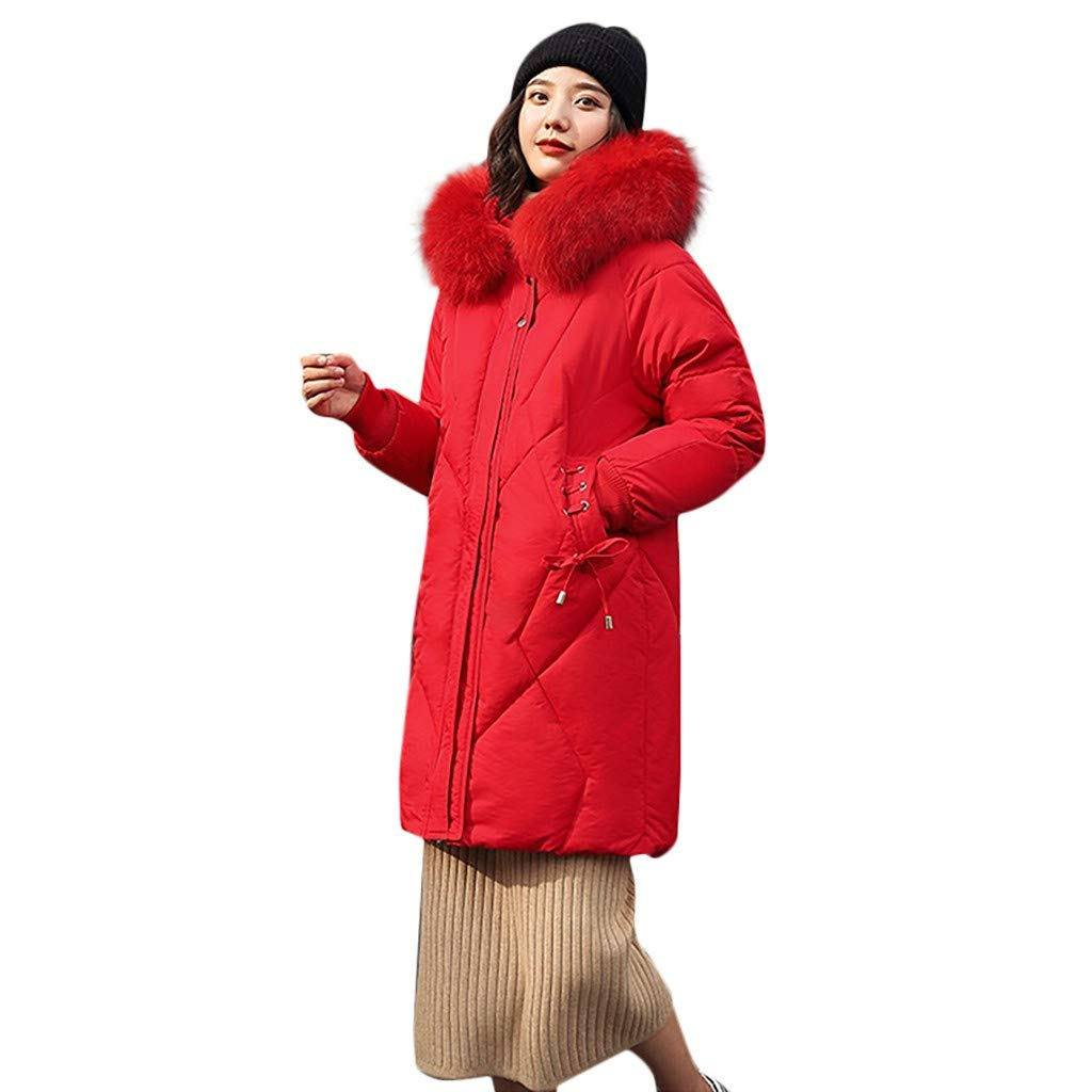 Fashionhe Hooded Down Jackets Windproof Overcoat Warm Outerwear Long Sleeve Cotton-Padded Pockets Bandage Coats(Red.3XL) by Fashionhe