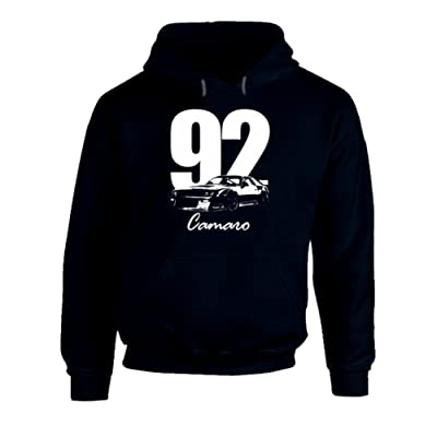 1992 Camaro Three Quarter View With Year and Model Name Navy Blue Hooded Sweatshirt Hoodie