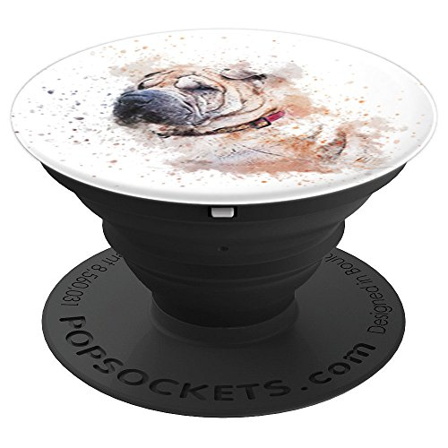 Chinese Shar Pei Dog Breed Splatter Paint Watercolor Art - PopSockets Grip and Stand for Phones and Tablets