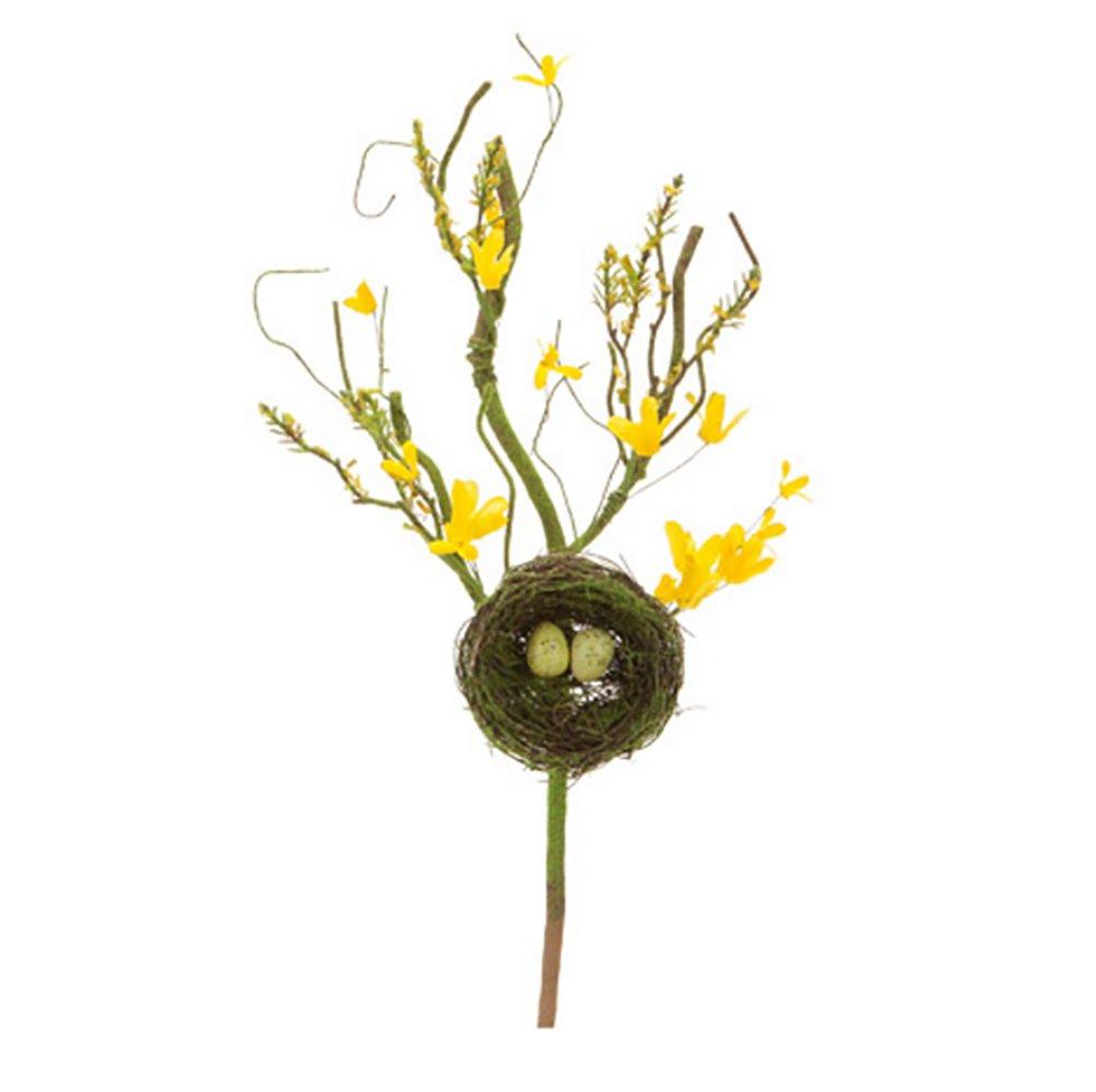 RetailSource Spring Floral Artificial 20 Forsythia Birds Nest Pick 6 Piece 6 Pack