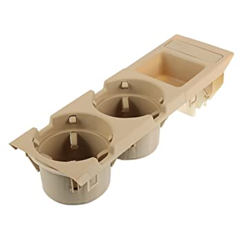 Livecity Car Center Console Drink Box Cup Tray Holder Coin Storage Container for BMW E46 3 Series Beige