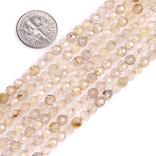- Gold Rutilated Quartz Beads for Jewelry Making Natural Gemstone Semi Precious AAA Grade 4mm Round Faceted 15