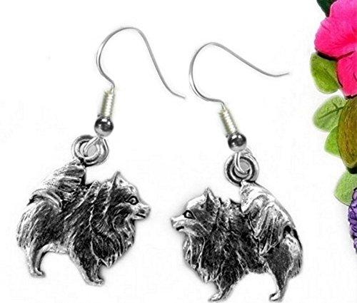 Pomeranian Pewter Dog Pierced Earrings