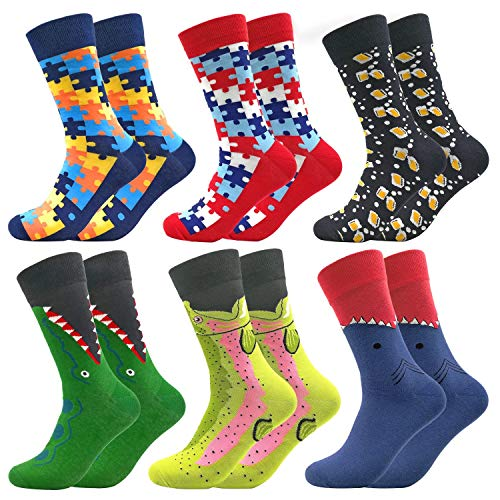 Mid Calf Colorful Socks Funny Casual Combed Cotton Stockings Marvel Dress Shark Puzzle Sock Funky Happy Packs(601)