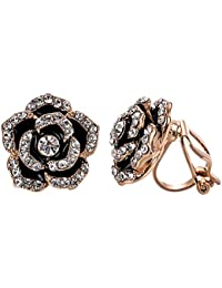 clip earrings for women black rose flower gold plated earring enamel…