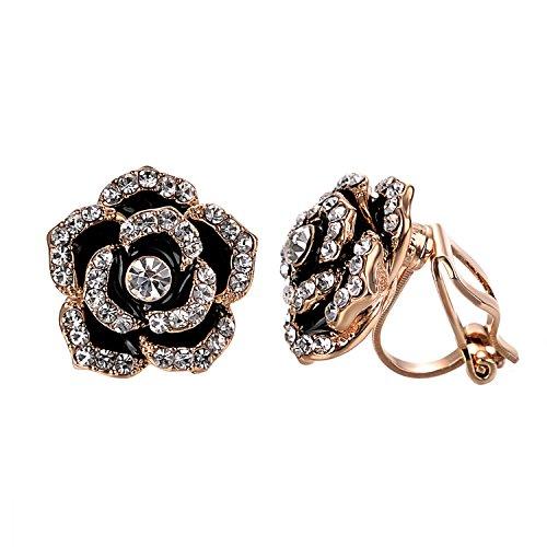 Yoursfs clip earrings for women black rose flower gold plated earring enamel… (Flower Clip (Enamel Earrings Clip)