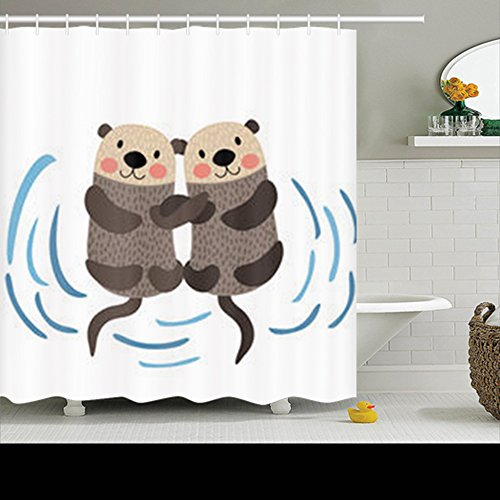 Family Decorative Shower Curtains Otter Couple Holding Hands Animal Otters Waterproof Polyester Fabric Home Bathroom Decor Bath Curtain Size 72x72 Inches