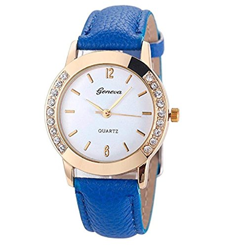 Mp3 Player Quartz Watch - Noopvan Deal Watch, Fashion Women Diamond Leather Quartz Watches (Blue)