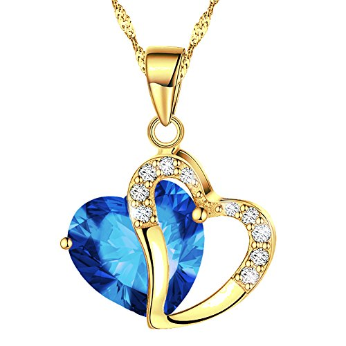 KATGI Fashion Austrian Crystals Heart Shape Pendant Necklace (Gold Plated Dark Blue) (Gold Teardrop Heart)