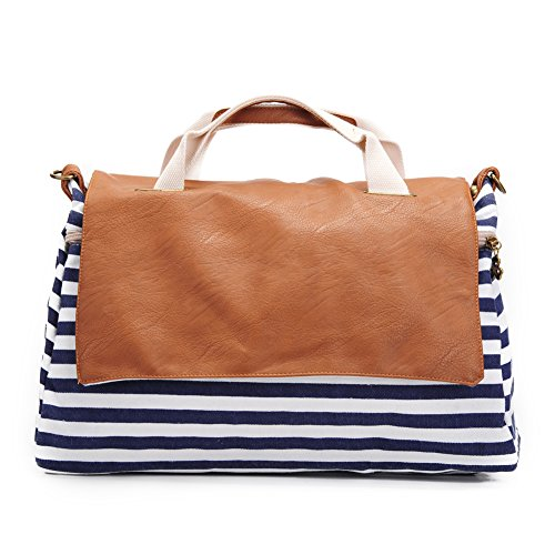 Women Top Handle Handbags Satchel Purse Tote Bag Shoulder Bag Stripe by Ms.Camellia