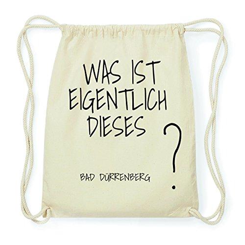 JOllify BAD DÜRRENBERG Hipster Turnbeutel Tasche Rucksack aus Baumwolle - Farbe: natur Design: Was ist eigentlich