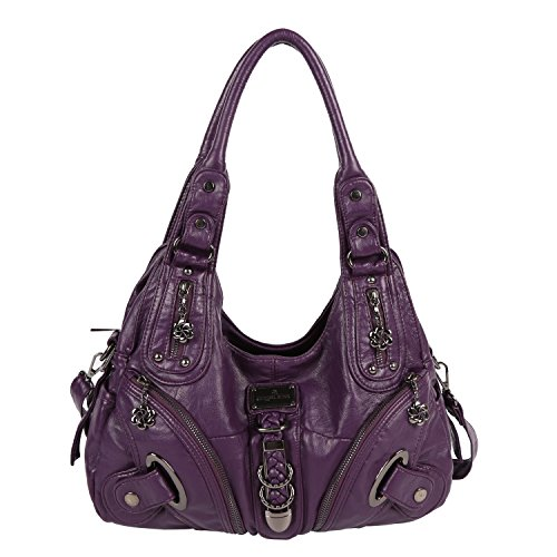 Angelkiss Women Multiple Pockets Purses and Handbags Washed Leather, Two Top Zippers Closure, Purple ()