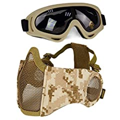 """Specification: Material: Low -carbon steel and 1000D Nylon(Airsoft Mask),TPU+PC(Goggles). Size: 42cm x 16cm /16.5"""" x 6.3""""(Airsoft Mask), 19*7cm/7.5*2.7""""(Goggles). Weight: 95g(Airsoft Mask), 80g(Goggles). Color:As shown. Application:Perfect fo..."""