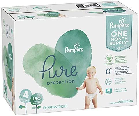 Diapers Size 4 150 Count - Pampers Pure Protection Disposable Baby Diapers Hypoallergenic and Unscented Protection ONE MONTH SUPPLY