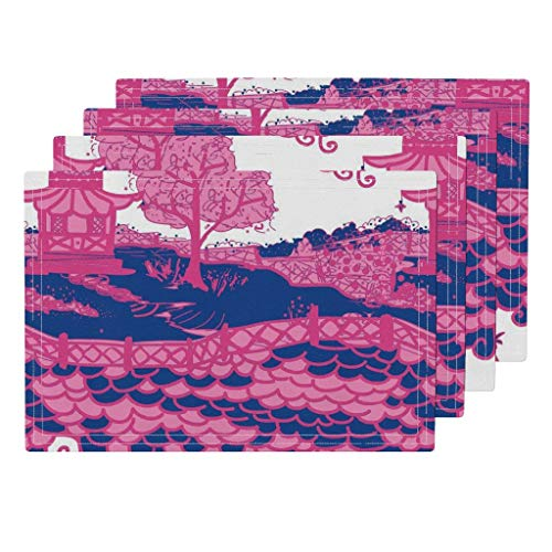 Roostery Chinoiserie 4pc Eco Canvas Cloth Placemat Set - Pagoda Scallop Scales Toile Fretwork Pink and Blue by Danika Herrick (Set of 4) 13 x 19in