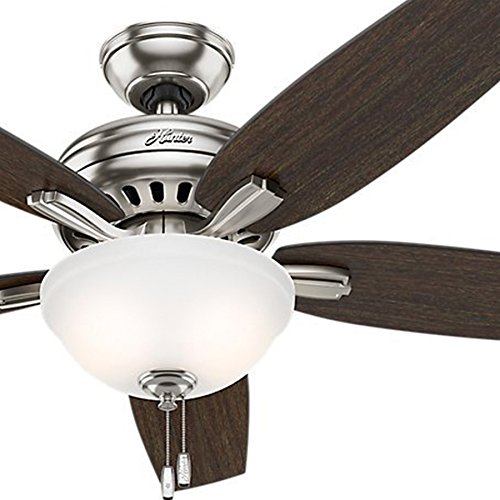 Hunter Fan 52 inch Ceiling Fan in Brushed Nickel with Cased White CFL Light Kit, 5 Blade (Certified Refurbished) For Sale