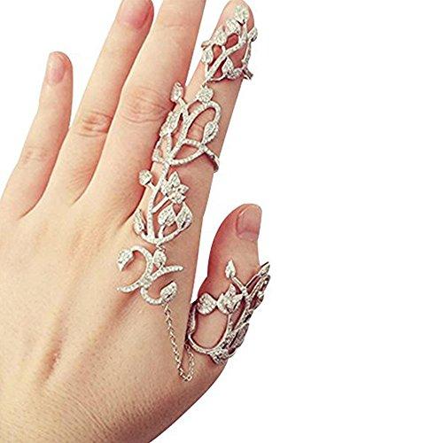 Happy Hours - Adjustable Plating Rose Rings / Multiple Finger Stack Knuckle Band Hollow Bling Ring Crystal Set(Sliver-No Crystal)