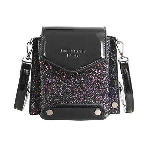 Designer Handbags Net - Net red Fashion Texture Patent Leather Sequins one Shoulder Crossbody Bag Black