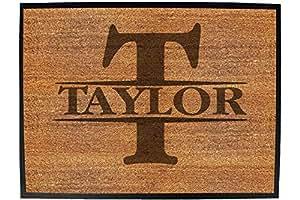 Initial-Taylor - Funny Novelty Birthday Doormat Floor mat floormat Door Personalised Gift Present New Home Christmas Custom pet Dog cat Entrance Welcome Office Non Slip