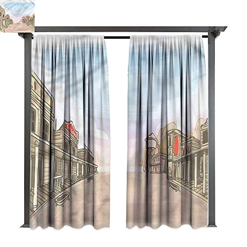 cobeDecor Thermal Insulated Drapes Western Sandy Empty West Village for Lawn & Garden, Water & Wind Proof W108 xL96]()