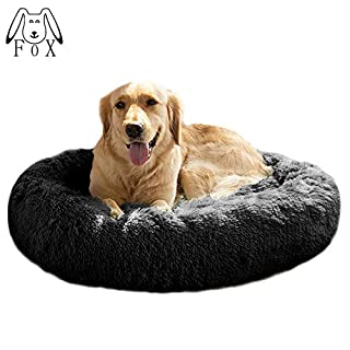 """MFOX Calming Dog Bed (XL/XXL) for Medium and Large Dogs Comfortable Pet Bed Faux Fur Donut Cuddler Up to 35/55lbs, Self-Warming and Washable(Size 32""""/36"""")"""