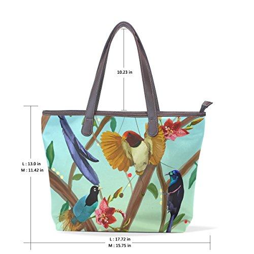 COOSUN Damen Vögel Pu Leder Große Einkaufstasche Griff Umhängetasche