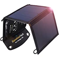 iSunshineTech 15W Foldable Solar Charger with Dual USB Port, SunPower Panels with Built-in Smart Chips, Auto-ID Tech