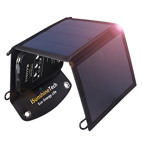 iSunshineTech 15W Foldable Solar Charger with Dual USB Port, SunPower Panels with Built-in Smart Chips, Auto-ID Tech by iSunshineTech