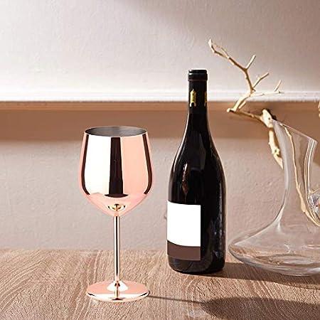 asdfwe Acero Inoxidable Copas De Vino Vino De Acero Champagne Cristal De Oro Rosa De Una Sola Capa De Cristal Rojo Vino De La Barra del Partido