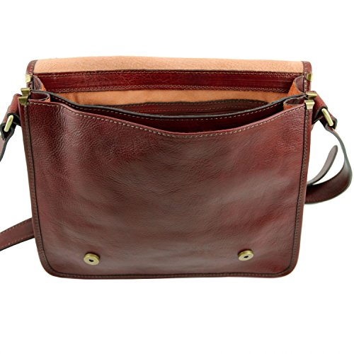 en Tuscany Leather Bolso Postina oscuro Marrón piel cartero TL141288 Marrón Oscuro TL 5 rOX4qxw1O