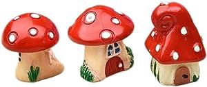 COOLTOP 3pcs, 3 Styles Mini Resin Mushroom Houses Miniature Fairy Garden Bonsai Ornaments Fairy Garden Micro Landscape Decoration