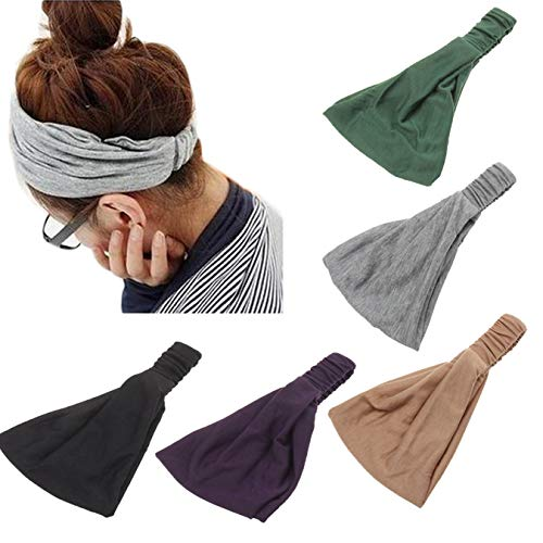 DANMY Women Elastic Flower Printed Hairbands Flower Printed Cotton Headband Young Girls Twist Knotted Hair Band