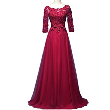 nymph Womens A-line Floor Length With Sleeves Elegant Formal Evening Dresses