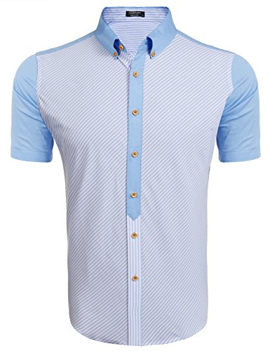 COOFANDY Mens Cotton Striped Short Sleeve Button Down Shirts Casual Dress Shirt, Clear Blue, Large ()