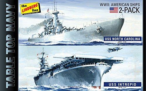 HL419 1/1200 WW.II table top Navy 2 pack USS Intrepid & USS North (North Carolina Battleship)
