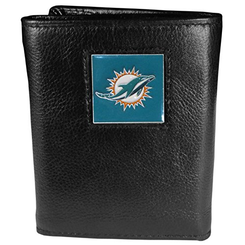 Leather Miami Dolphins Tri Fold Wallet - NFL Miami Dolphins Genuine Leather Tri-fold Wallet