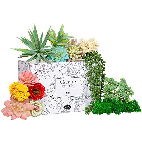 (Adornaux Artificial Succulent Plants Pack - 13 Pieces - Ultra Realistic Faux Succulents Variety Pack - Mini, Medium, and Large - Echeveria, Rose, String of Pearls - Ideal for Indoor and Outdoor Décor)