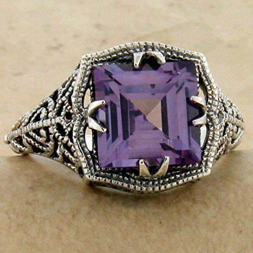 - Color Changing SIM Alexandrite Antique Style 925 Sterling Silver Ring SZ 10 KN-4856