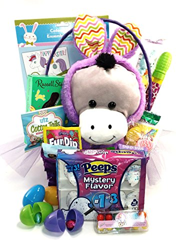 Easter Gift Basket - Kids Deluxe Prefilled with Candy, Toys and Activities, Large Plush in Bunny Costume, Includes M&Ms, Peeps, Starburst, Fun Dip & More! (Purple (Starburst Costume)