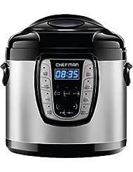 Chefman 6 Qt. Electric Multicooker, 9-in-1 Programmable Pressure Cooker, Prepare Dishes in an Instant, Aluminum Pot Multifunctional Slow Cooker, Rice Cooker/Steamer, Sauté, Yogurt, Soup Maker