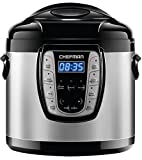 Chefman 6 Qt. Electric Multicooker, 9-in-1 Programmable Pressure Cooker, Prepare Dishes in an Instant, Aluminum Pot Multifunctional Slow Cooker, Rice Cooker/Steamer, Sauté, Yogurt, Soup Maker