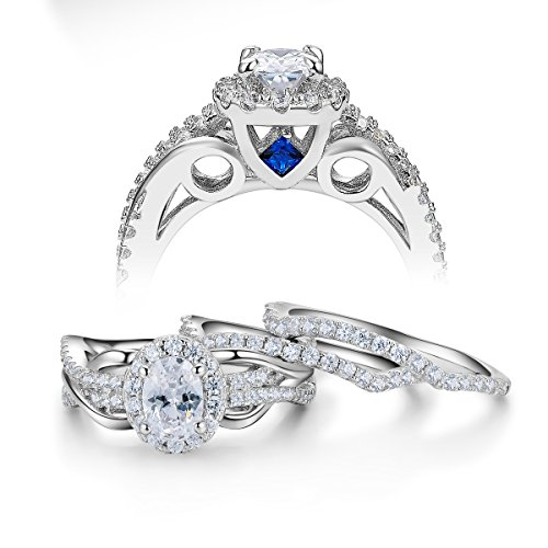 Newshe 3pcs 2Ct Oval White Cz Created Blue Sapphire 925 Sterling Silver Wedding Engagement Ring Set Sz 7