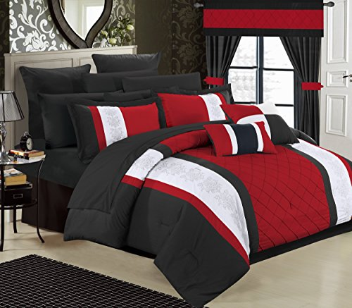 Chic Home 24 Piece Danielle Complete Pintuck Embroidery Color Block Bedding, Sheets, Window Panel Collection Bed in a Bag Comforter Set, King, Red