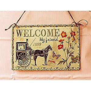 Tarjeta de bienvenida Letrero de bienvenida de hierro vintage ...