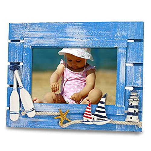 beach picture frame with sailboats lighthouse weathered ocean blue wood background nautical kids bathroom decor for 4x6 photo - Nautical Picture Frames