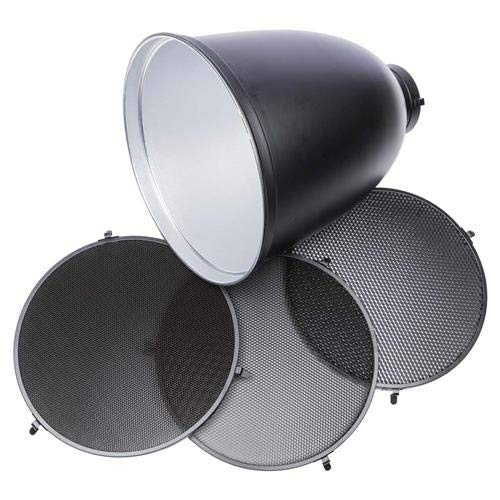 Interfit MR11G102 Studio Essentials Quality - Deep Zoom Reflector with Bowens S-Type Mount and 3 Grid Bundle 10/20 / 30, Silver by Interfit