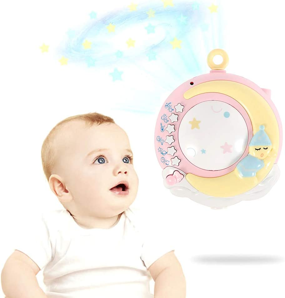 Baby Musical Cot Mobile with Projector Adjustable Volume Remote Control Music Player Fixed Bracket Colorful Electric Rotating Music Toy for Newborn Infant Toddler